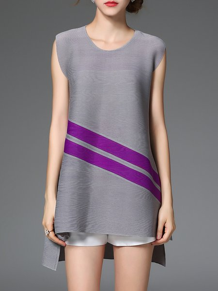 Gray Asymmetrical Stripes Polyester Casual Tunic