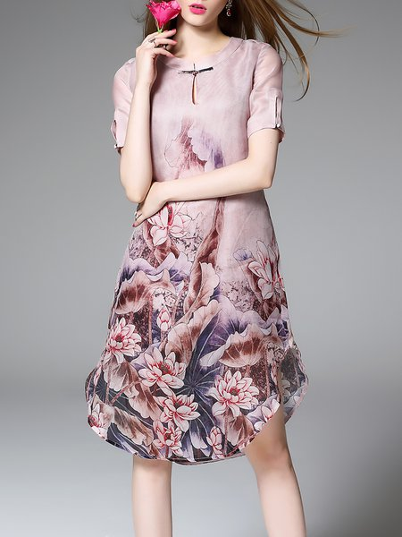 Apricot Asymmetric Short Sleeve Floral Silk Midi Dress