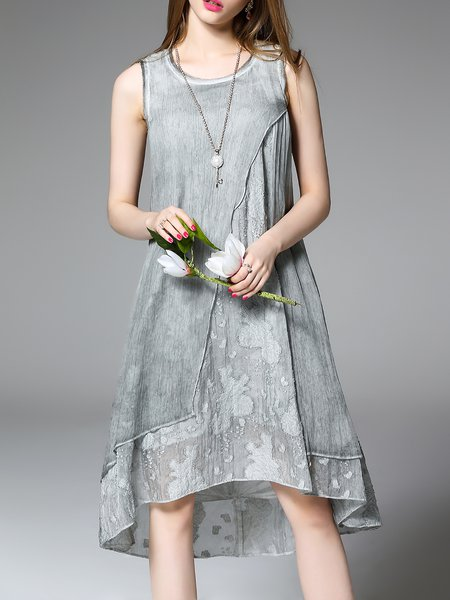 Gray Cotton Casual High Low Midi Dress