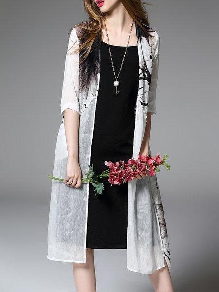 Gray Silk Half Sleeve Coat