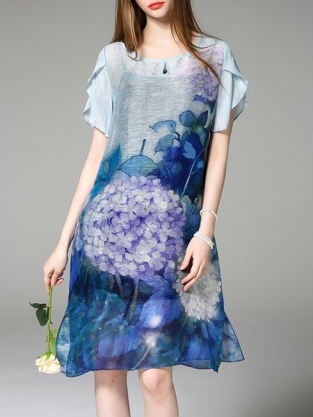 Casual Short Sleeve Two Piece Midi Dress