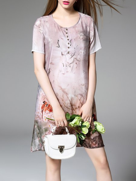 Short Sleeve Silk Vintage Shift Crew Neck Midi Dress
