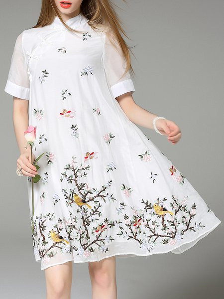 White Short Sleeve Embroidered Midi Dress