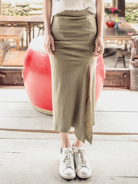 Khaki Knitted Casual Maxi Skirt