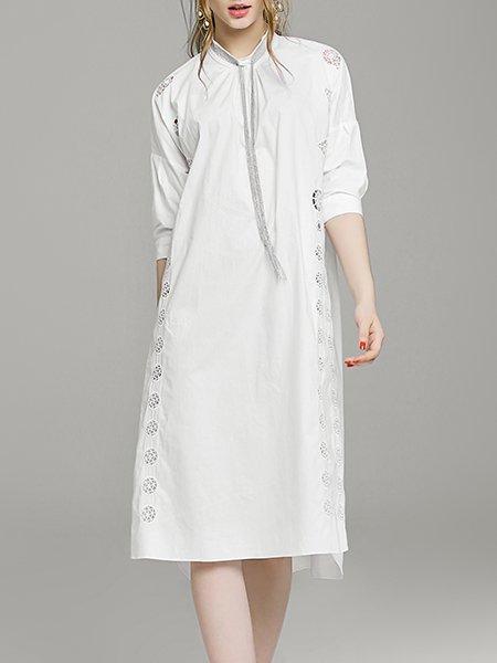 White Half Sleeve Paneled Midi Dress