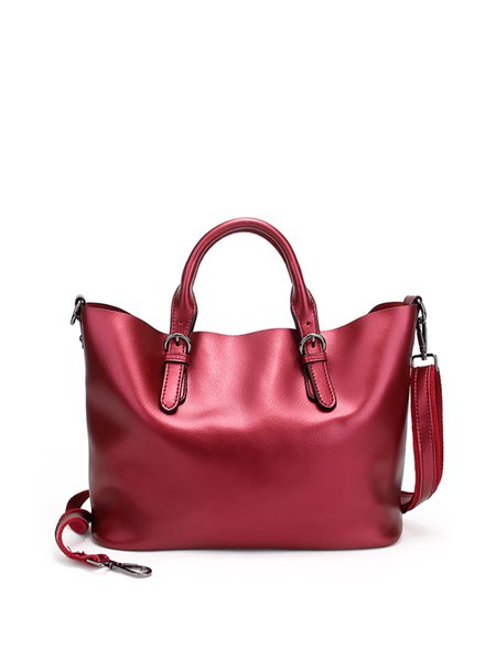 Solid Zipper Simple Cowhide Leather Tote