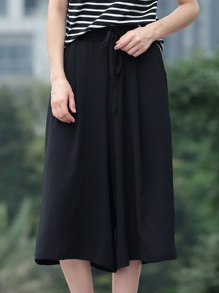 Black Plain Casual Polyester Wide Leg Pant