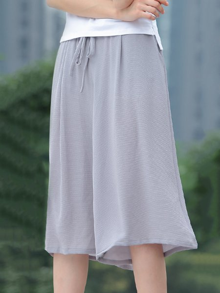 Gray Casual Polyester Wide Leg Pant