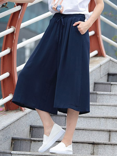 Navy Blue Casual Polyester Wide Leg Pants