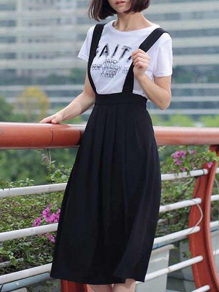 Black Statement Spaghetti Polyester Folds Midi Skirt
