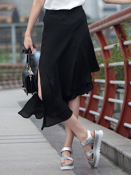Statement Plain Asymmetrical Polyester Midi Skirt
