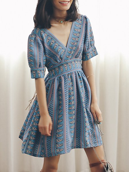 Blue Vintage Plunging Neck A-line Tribal Mini Dress