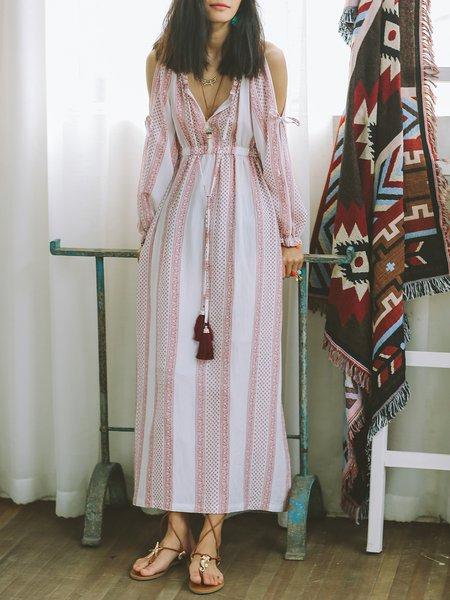 Multicolor Balloon Sleeve Off Shoulder Cotton-blend Maxi Dress