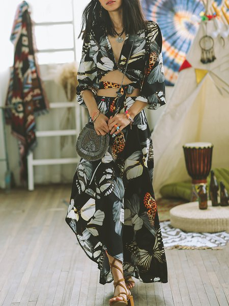 Multicolor Beach Two Piece Maxi Dress