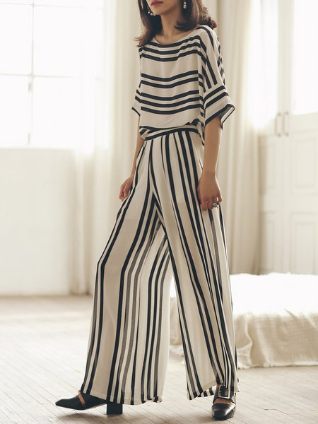 Bateau/boat Neck Half Sleeve Two Piece Polyester Simple Jumpsuit