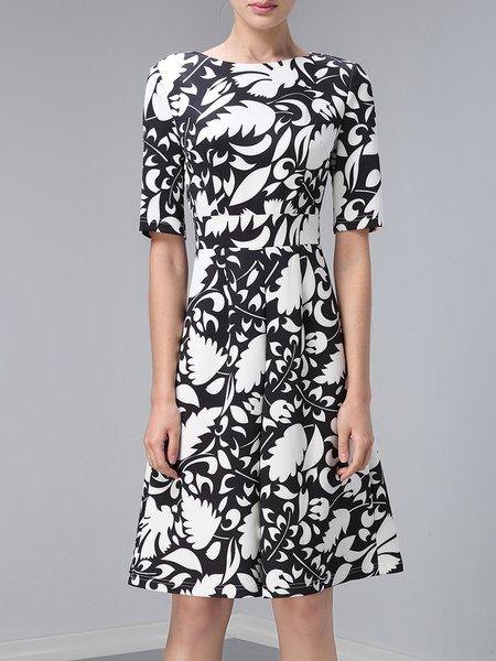 A-line Half Sleeve Work Bateau/boat Neck Printed Midi Dress