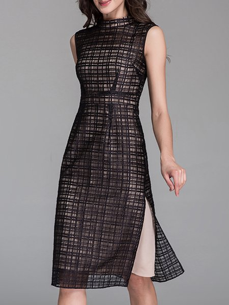 Black Two Piece Mesh Elegant Midi Dress