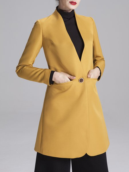 Yellow Pockets Long Sleeve Plain Polyester Coat