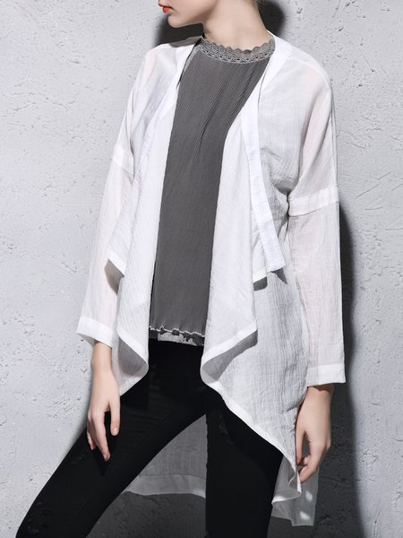 White Linen Long Sleeve Plain Asymmetric Coat