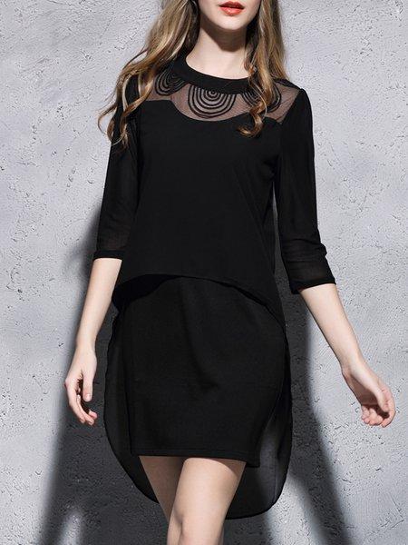 Black Stand Collar Polyester Half Sleeve Asymmetrical Mini Dress