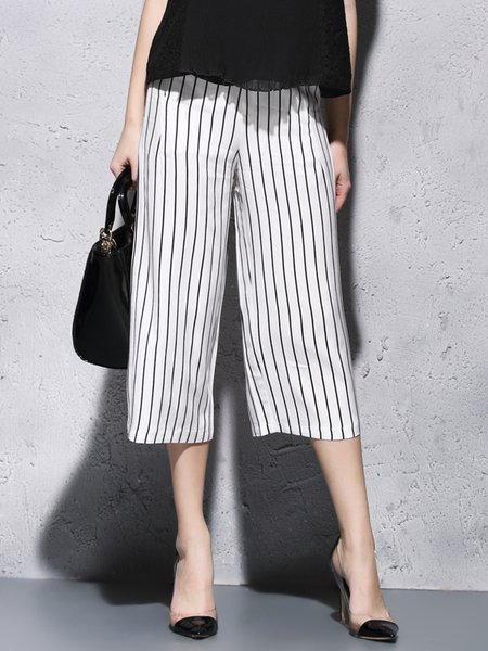 White Printed Casual Wide Leg Pants