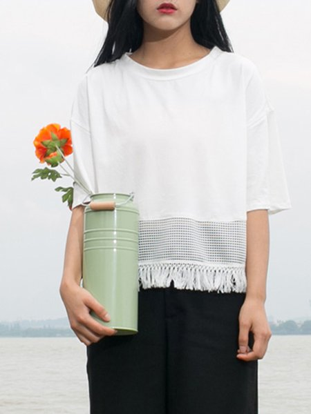 White Casual Cotton Plain T-Shirt
