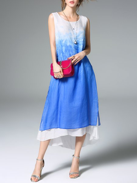 Blue Printed Sleeveless Linen Midi Dress