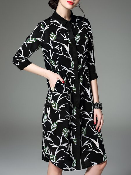 Black 3/4 Sleeve Silk Shirt Collar Floral-print Shirt Dress