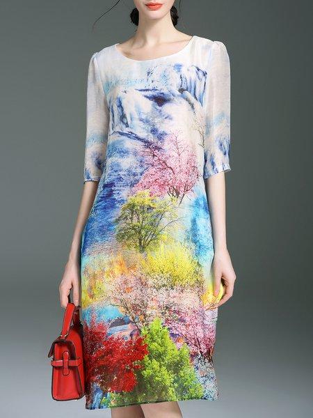 Half Sleeve Elegant Floral-print Midi Dress