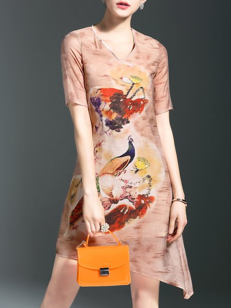 Multicolor Cotton Asymmetrical V Neck Casual Midi Dress