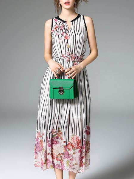 Linen Printed Sleeveless Resort Midi Dress