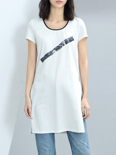 White Cotton Short Sleeve Tunic