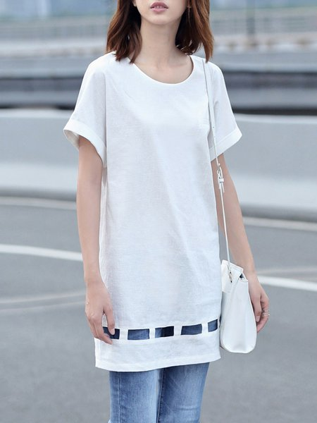 White Short Sleeve H-line Cutout Tunic