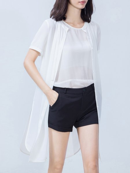 Short Sleeve Cotton Casual Slit Tunic