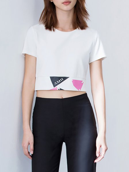 White Printed Casual Crew Neck Cropped Top