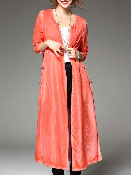 3/4 Sleeve Slit Shift Casual Plain Silk Coat