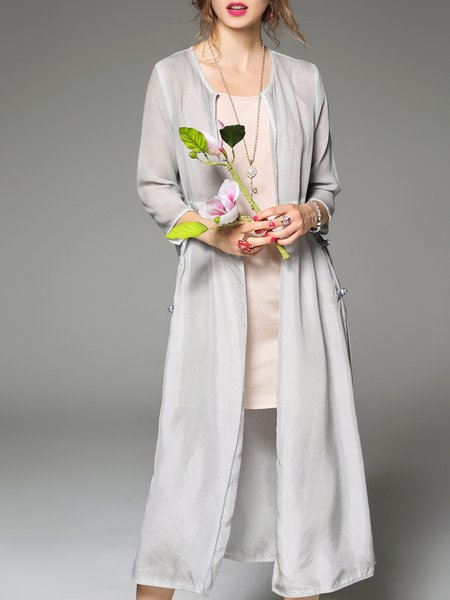 3/4 Sleeve Shift Slit Casual Coat
