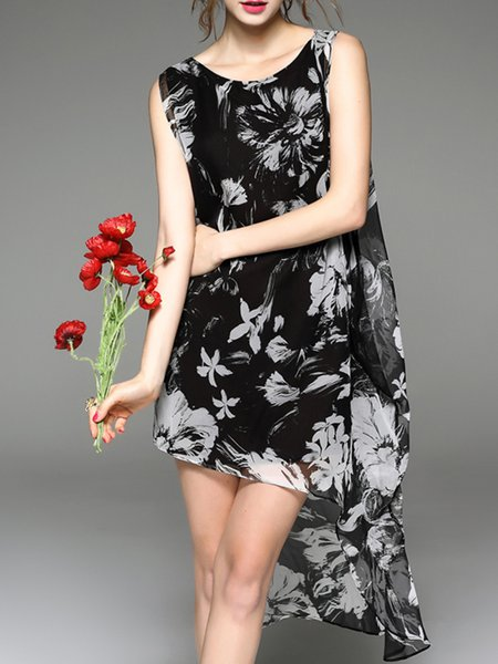 H-line Printed Vintage Crew Neck Sleeveless Midi Dress