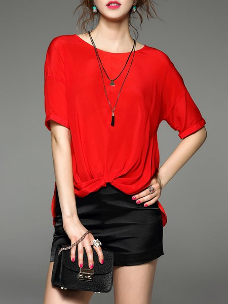 Asymmetric Gathered Simple Half Sleeve Plain Blouse