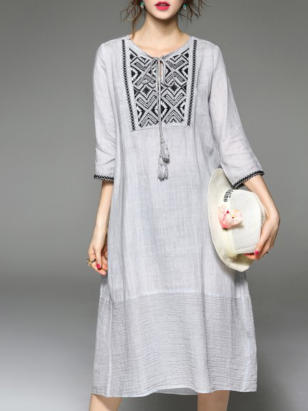 Plus Size Gray Linen 3/4 Sleeve Crew Neck Shift Linen Dress