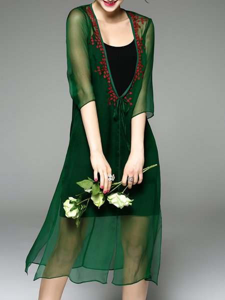 Green Slit Half Sleeve Shift Silk Coat