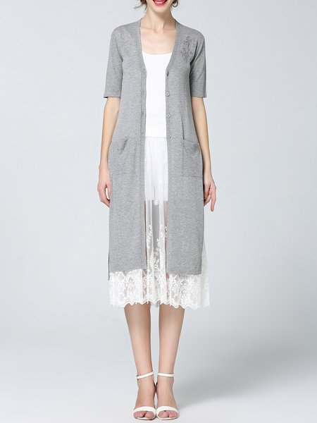 Casual Knitted Shift Viscose Half Sleeve Coat
