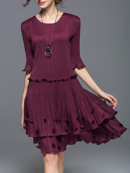 Burgundy Appliqued Half Sleeve Midi Dress