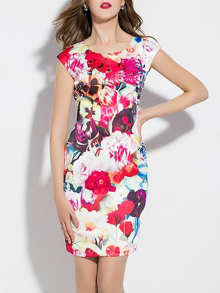 Sheath Crew Neck Elegant Short Sleeve Mini Dress