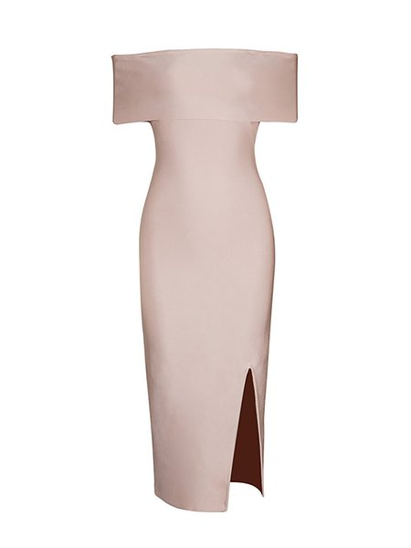 Off Shoulder Short Sleeve Bandage Viscose Midi Dress