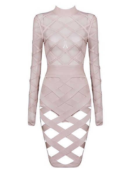 Bodycon Long Sleeve Bandage Crew Neck Midi Dress
