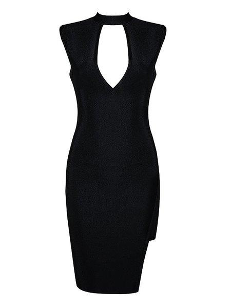 Sleeveless Bodycon Sexy Cutout Bandage Midi Dress