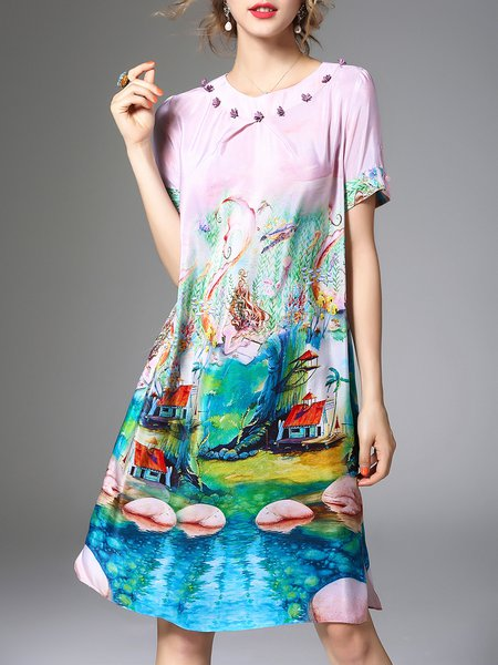 Pink Silk Printed A-line Short Sleeve Midi Dress