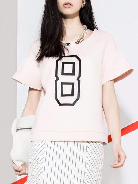 Pink Printed Sweet Crew Neck Polyester Short Sleeved Top