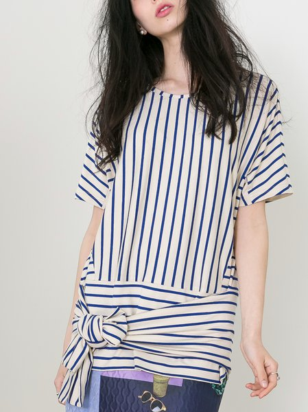 Beige Bow Crew Neck Statement Stripes Tunic